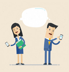 businessman and business woman talking via vector image