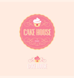 Cake house logo baking and bakery emblem vector