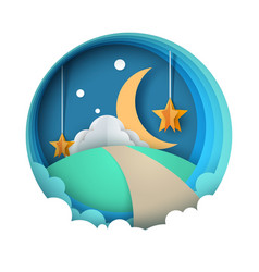 cartoon paper night landscape moon star cloud vector image