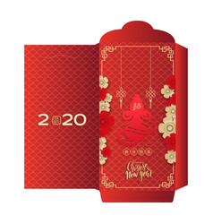 Chinese new year greeting money red packet ang pau vector