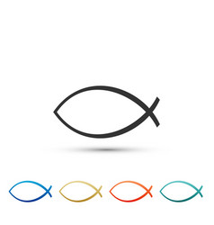 christian fish symbol icon jesus fish symbol vector image