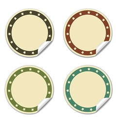 Circle sticker with stars beige vector image
