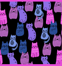 colorful doodle style cats group vector image