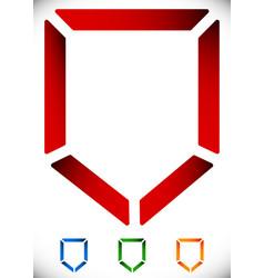 contour shield icon in 4 color - security defense vector image