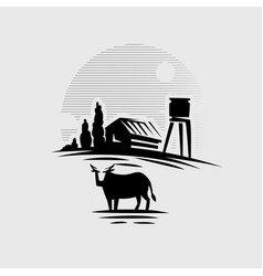 cow on background village vector image