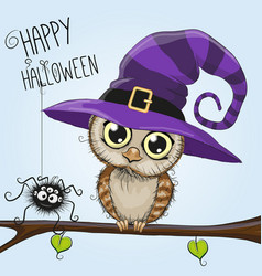 Cute cartoon owl in a witch hat vector