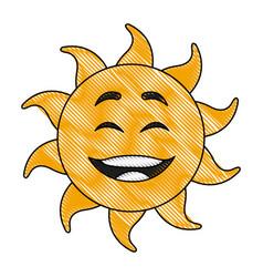 Cute hand drawn smiling cartoon character of sun vector