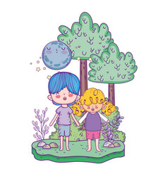 cute little kids with moon kawaii in the landscape vector image