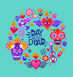 day dead mexican sugar skull icon card vector image