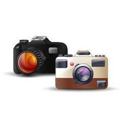 Digital photo camera on white background vector