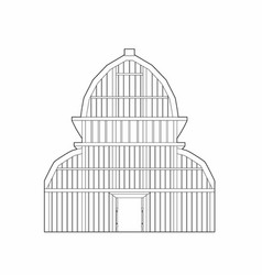 Drawing of the large greenhouse vector