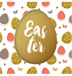 easter card with golden and pink eggs vector image