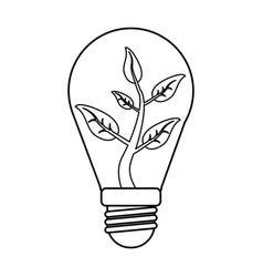 Ecology bulb leaf nature thin line vector