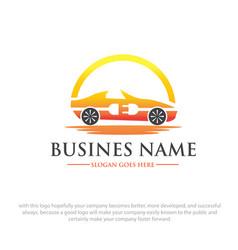 electric car logo designs vector image