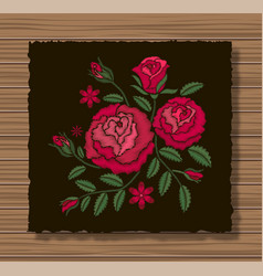embroidery stitches with roses and sprigs on a vector image