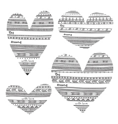 Ethnic pattern style heart shape gift tags vector image