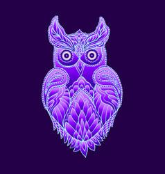 Fantasy mystical purple owl vector