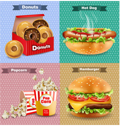 fast food set with burger hot dog and french vector image