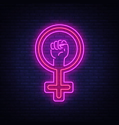 female gender symbol neon sign feminism vector image