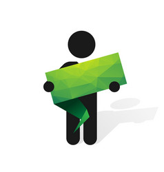 figure man holds green label vector image