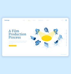 film production isometric landing movie making vector image