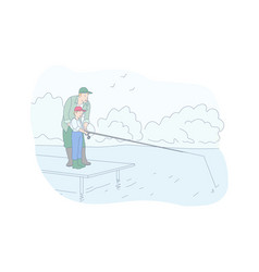 fishing family rest recreation concept vector image