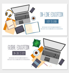 Flat design banners for online education vector image