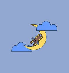 Flat icon design collection space shuttle and moon vector