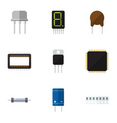 Flat icon technology set of mainframe transistor vector