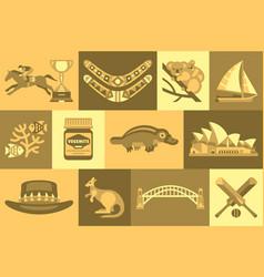 Flat set australian travel icons vector