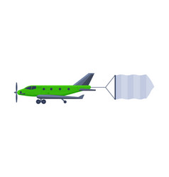flying plane with blank banner modern green air vector image