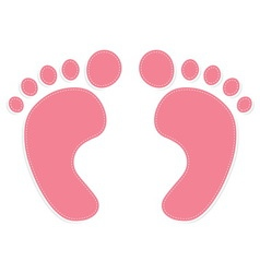 Foot prints color pink vector