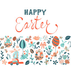Funny happy easter eggs hunt greeting card vector