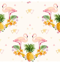 Geometric Pineapple and Flamingo Background vector