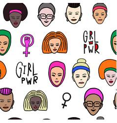 Girl power woman face feminist seamless pattern vector