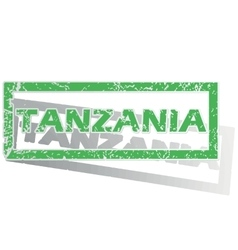 Green outlined Tanzania stamp vector