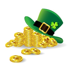 Green St Patricks Day hat with shamrock on gold vector