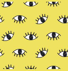 hand drawn eye doodles seamless pattern vector image