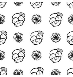 Hand drawn pansy and daisy flowers seamless vector