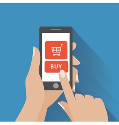 Hand holing smart phone with buy button on the vector image