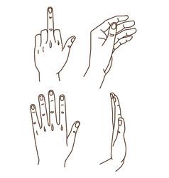 hands gestures hand drawn doodle set stroke vector image