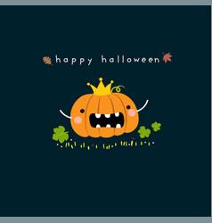 happy halloween card with cute pumpkin cartoon vector image
