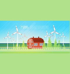 House building with wind turbine eco real estate vector