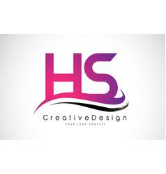 Hs h s letter logo design creative icon modern vector