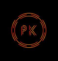 initial letter pk logo design template pk letter vector image