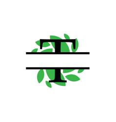 Initial t green leaf monogram split letter vector