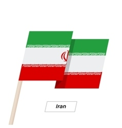 Iran Ribbon Waving Flag Isolated on White vector