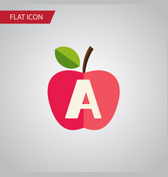 isolated apple flat icon vitamin a element vector image