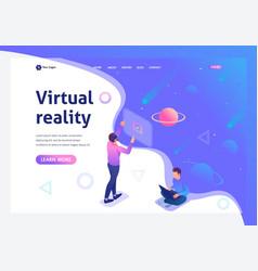 isometric a young man runs a virtual reality using vector image