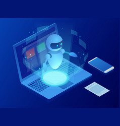 isometric robot learning or solving problems vector image